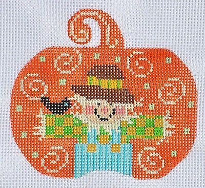 NEEDLEPOINT Handpainted Canvas THANKSGIVING DANJI Scarecrow Pumpkin 3x3