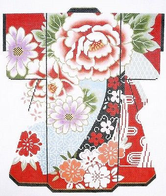 NEEDLEPOINT HAND PAINTED Canvas LEE Japanese KIMONO Blossoms on Red 18M