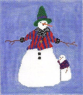 NEEDLEPOINT HandPainted CHRISTMAS Jane Cather Frostys Family 13M