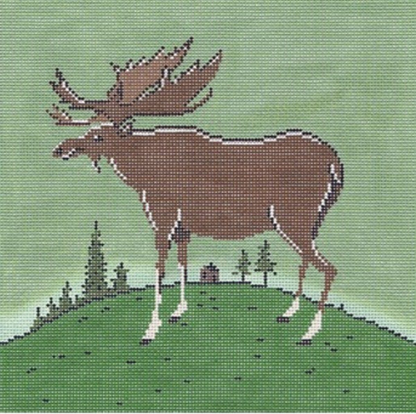 NEEDLEPOINT Handpainted Warren Kimble FOLK Moose 10x10