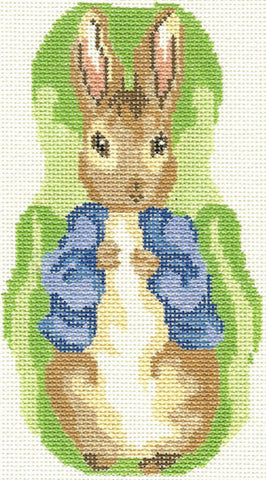 NEEDLEPOINT Handpainted Canvas PETER RABBIT Ornament Silver Needle