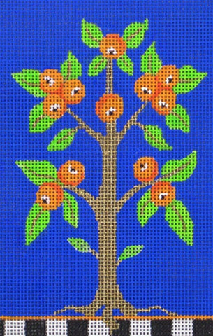 NEEDLEPOINT Handpainted Amanda Lawford ORANGE TREE 4x6