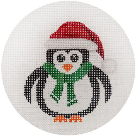 NEEDLEPOINT HandPainted JP Needlepoint CHRISTMAS Penguin w Muffler Ornament 4.5""