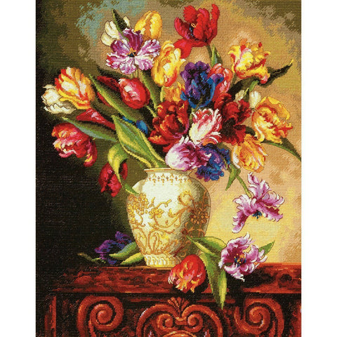 COUNTED CROSS STITCH Dimensions Kit PARROT Tulips 12 x 15