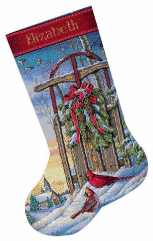 COUNTED CROSS STITCH Christmas Stocking KIT Christmas SLED Dimensions 16""