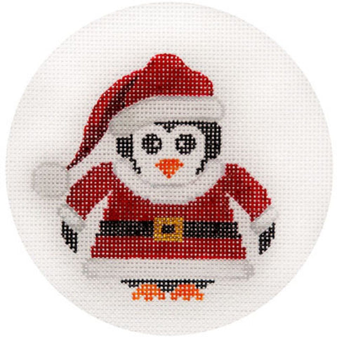 NEEDLEPOINT HandPainted JP Needlepoint CHRISTMAS Santa Penguin Ornament 4.5""