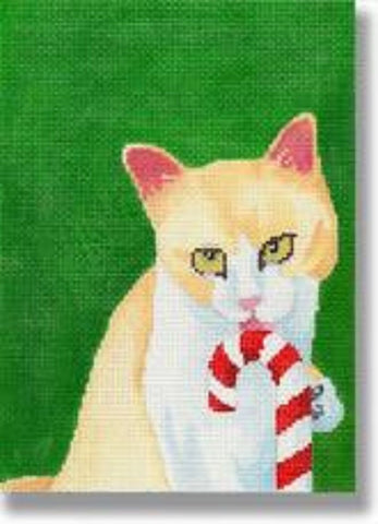 NEEDLEPOINT Handpainted Christmas CAT Scott Church Candy Cane KITTY 5X7