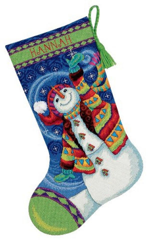 "Needlepoint Christmas STOCKING KIT Happy Snowman Dimensions 16"" Long"