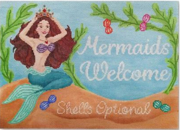 Needlepoint Handpainted STARKE Art Mermaids Welcome 8x11