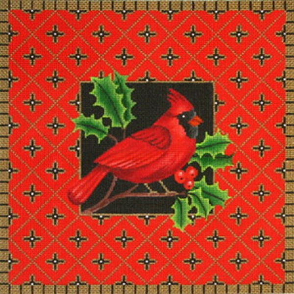 NEEDLEPOINT Handpainted Amanda Lawford CHRISTMAS Cardinal 12x12