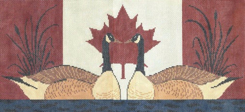 NEEDLEPOINT Handpainted Warren Kimble CANADA Geese 9x18