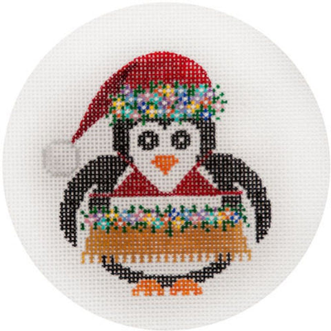 NEEDLEPOINT HandPainted JP Needlepoint CHRISTMAS Hula PENGUIN Ornament 4.5""