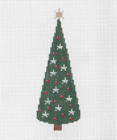 "Needlepoint Handpainted Canvas SANDRA GILMORE Christmas TREE B  2"" x 5.25"""