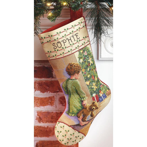 COUNTED CROSS STITCH Christmas Stocking KIT Christmas MORNING Janlynn 18""