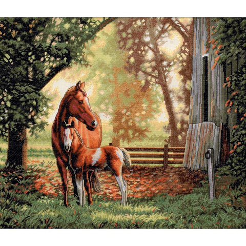 COUNTED CROSS STITCH Dimensions Kit HORSE Mare and Foal 14 x 12