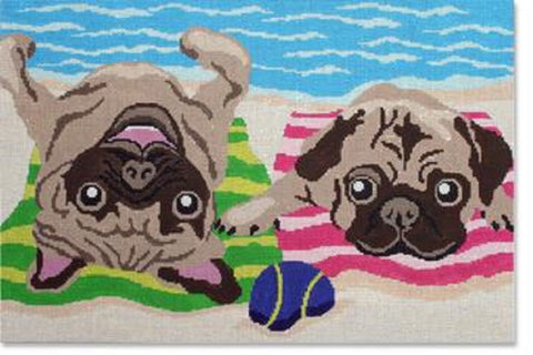 NEEDLEPOINT Handpainted LIORA MANNE Dog PUG Life 14 x 9.5