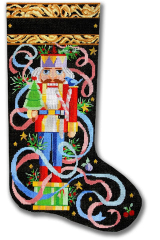 NEEDLEPOINT Handpainted Christmas STOCKING Nutcracker CBK