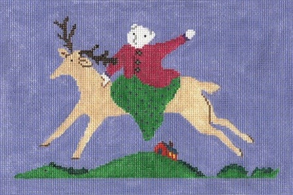NEEDLEPOINT HandPainted Jane Cather HORSE Beverly Giddy Up 6x9