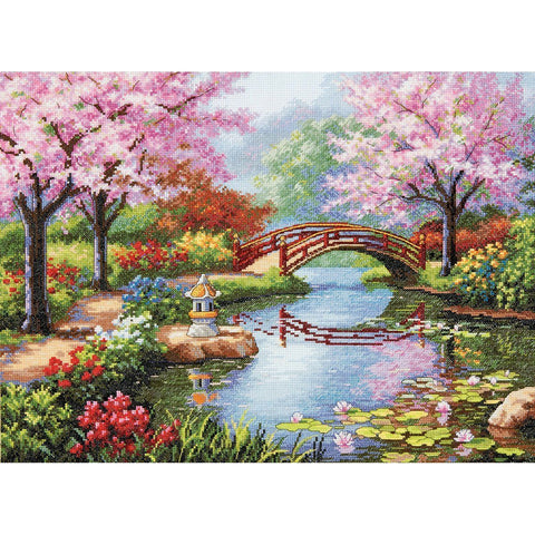 COUNTED CROSS STITCH Dimensions Kit JAPANESE Garden 16x12