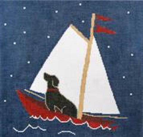 NEEDLEPOINT Handpainted CBK Dog 2 North Star SAILING 11.75""