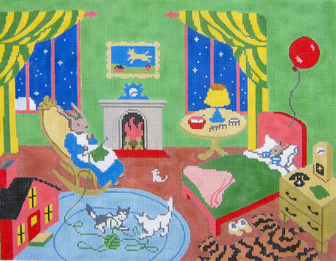 NEEDLEPOINT HANDPAINTED Canvas GOODNIGHT MOON Great Green Room 13M