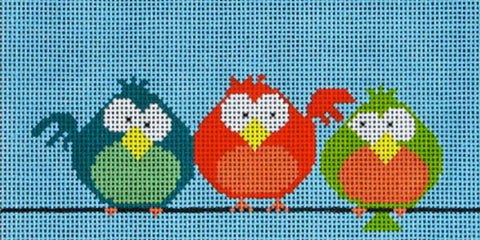 NEEDLEPOINT Handpainted Amanda Lawford BIRDS on a Wire 6x3