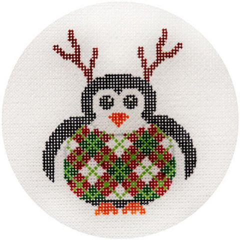 NEEDLEPOINT HandPainted JP Needlepoint CHRISTMAS Reindeer Penguin Ornament 4.5""