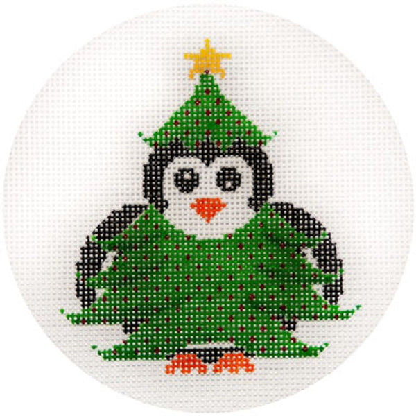 NEEDLEPOINT HandPainted JP Needlepoint CHRISTMAS Tree PENGUIN 4.5""