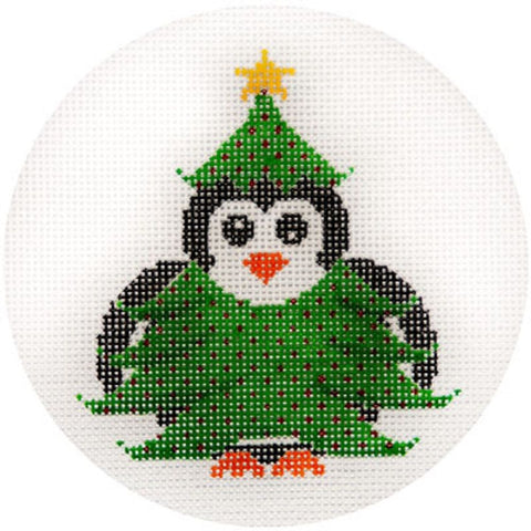 NEEDLEPOINT HandPainted JP Needlepoint CHRISTMAS Tree PENGUIN Ornament 4.5""