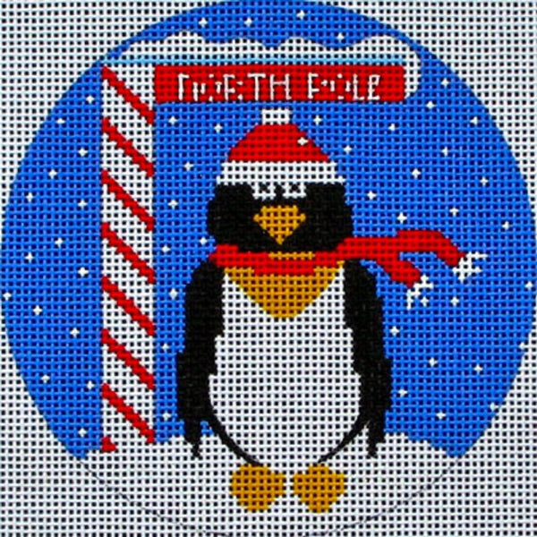 NEEDLEPOINT Handpainted Amanda Lawford CHRISTMAS North Pole PENGUIN DC Designs