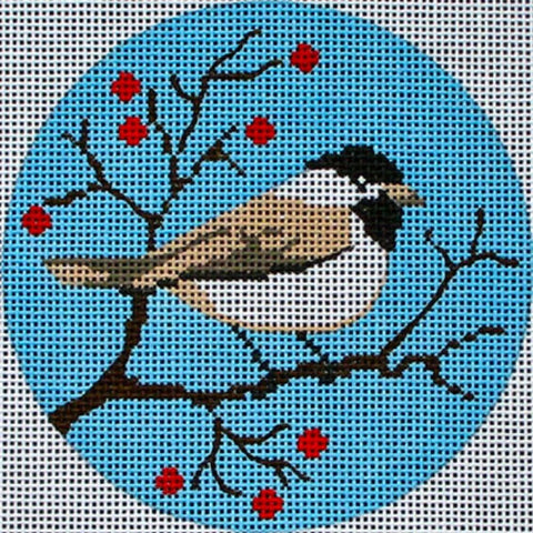 NEEDLEPOINT Handpainted Amanda Lawford CHRISTMAS ORNAMENT Chickadee DC Designs