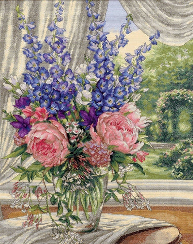 COUNTED CROSS STITCH Dimensions Kit Peonies Delphiniums 12x15