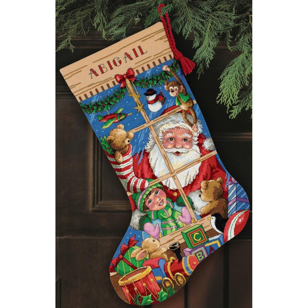 COUNTED CROSS STITCH Christmas Stocking KIT Santas Toys Dimensions 16""