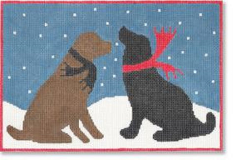 NEEDLEPOINT Handpainted LAURA MEGROZ Dog Evening SNOW Dogs 12 x 8