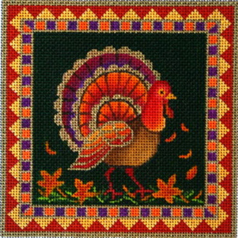NEEDLEPOINT Handpainted Amanda Lawford TURKEY Thanksgiving 6.5 x 6.5