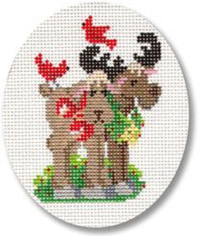 NEEDLEPOINT Handpainted CHRISTMAS Kooler Designs MOOSE Ornament 3x4