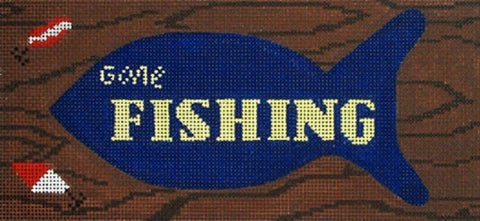 NEEDLEPOINT Handpainted Amanda Lawford GONE FISHING DC Designs 8x4