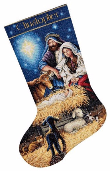 COUNTED CROSS STITCH Christmas Stocking KIT Holy Night Dimensions 16""