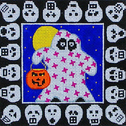 NEEDLEPOINT Handpainted Amanda Lawford HALLOWEEN Ghosts Skulls 5x5