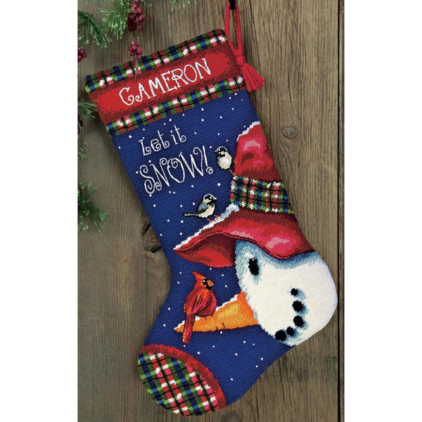 Needlepoint Christmas STOCKING KIT Snowman Perch Dimensions 16""