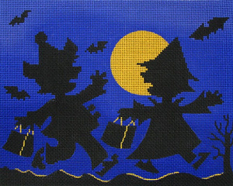 NEEDLEPOINT Handpainted Amanda Lawford HALLOWEEN Silhouette Treaters
