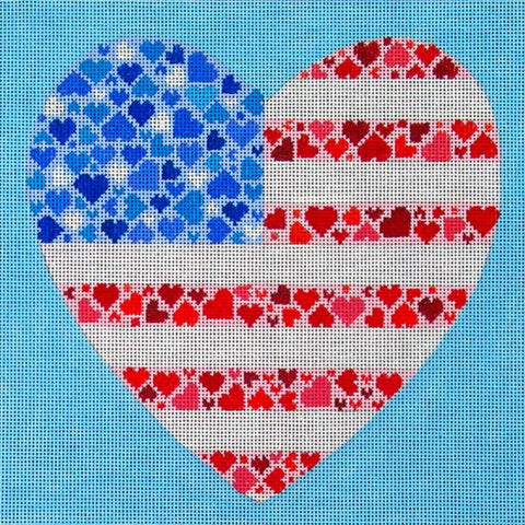 NEEDLEPOINT HandPainted Canvas Amanda Lawford AMERICAN Flag HEART USA Patriotic