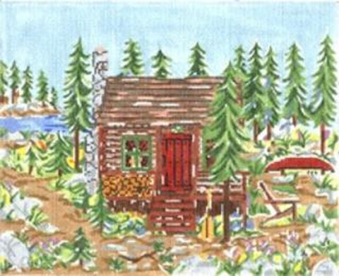 NEEDLEPOINT HandPainted Susan Wallace Barnes MOUNTAIN CABIN 8x10