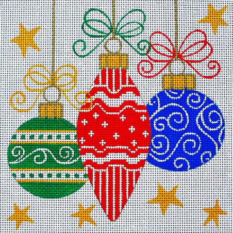 NEEDLEPOINT Handpainted Amanda Lawford Christmas DECOR Bulbs DC Designs 8x8