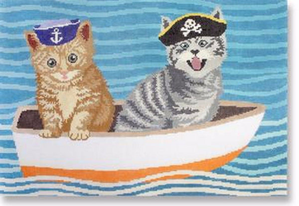 NEEDLEPOINT Handpainted LIORA MANNE Cat Puss in Boat 14 x 9.5
