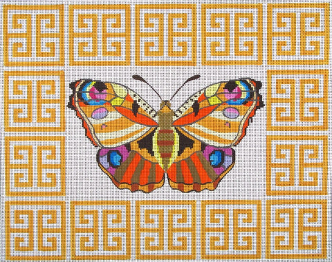 NEEDLEPOINT Handpainted Amanda Lawford BUTTERFLY Yellow 16x13
