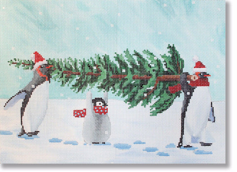 NEEDLEPOINT Handpainted CHRISTMAS Scott Church PENGUINS Bringing Home TREE