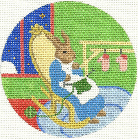 NEEDLEPOINT HANDPAINTED Canvas GOODNIGHT MOON Ornament Quiet Old Lady BUNNY