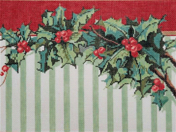 Needlepoint Handpainted SANDRA GILMORE Christmas HOLLY STRIPE 12x9