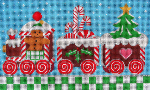 NEEDLEPOINT Handpainted Amanda Lawford Christmas GINGERBREAD Train DC Designs
